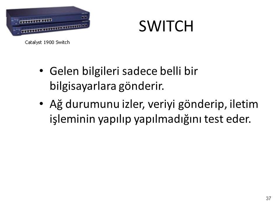 37 SWITCH Gelen bilgileri sadece belli bir bilgisayarlara gönderir.