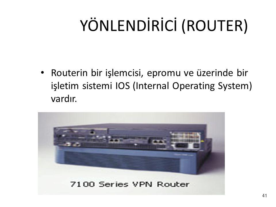 41 YÖNLENDİRİCİ (ROUTER) Routerin bir işlemcisi, epromu ve üzerinde bir işletim sistemi IOS (Internal Operating System) vardır.