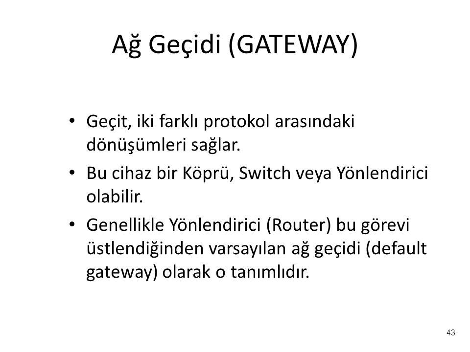 43 Ağ Geçidi (GATEWAY) Geçit, iki farklı protokol arasındaki dönüşümleri sağlar. Bu cihaz bir Köprü, Switch veya Yönlendirici olabilir. Genellikle Yön