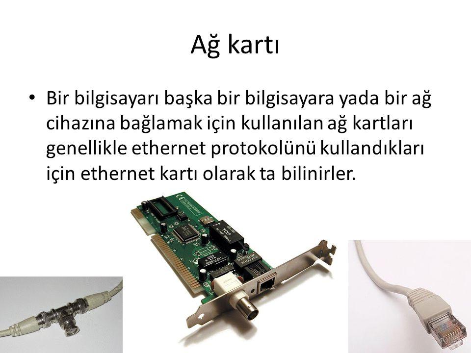 Ağ kartı Bir bilgisayarı başka bir bilgisayara yada bir ağ cihazına bağlamak için kullanılan ağ kartları genellikle ethernet protokolünü kullandıkları için ethernet kartı olarak ta bilinirler.