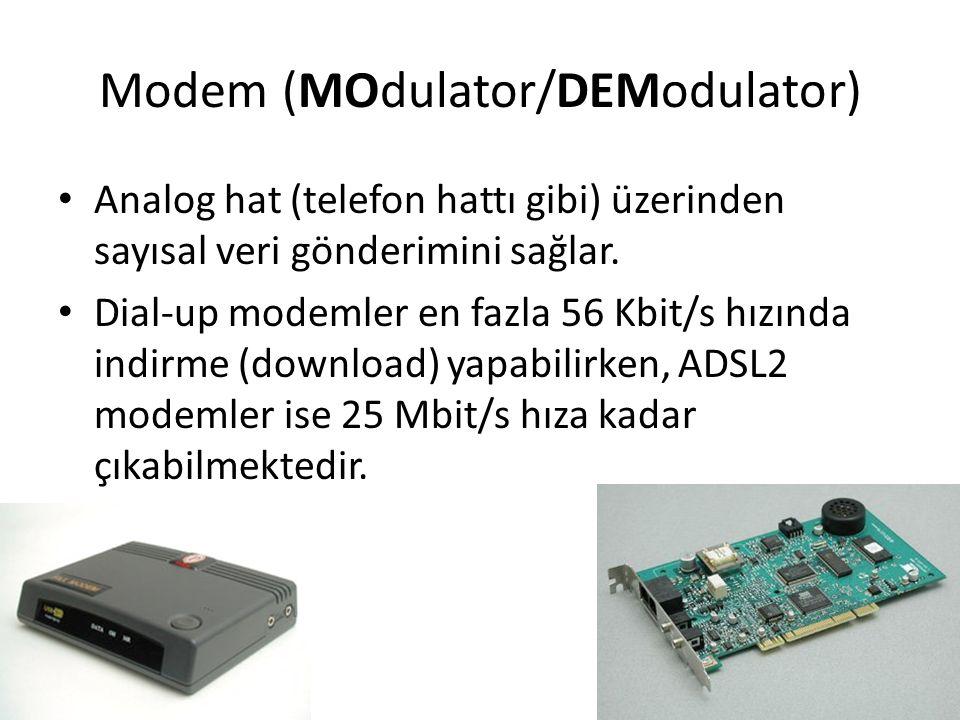 Modem (MOdulator/DEModulator) Analog hat (telefon hattı gibi) üzerinden sayısal veri gönderimini sağlar. Dial-up modemler en fazla 56 Kbit/s hızında i