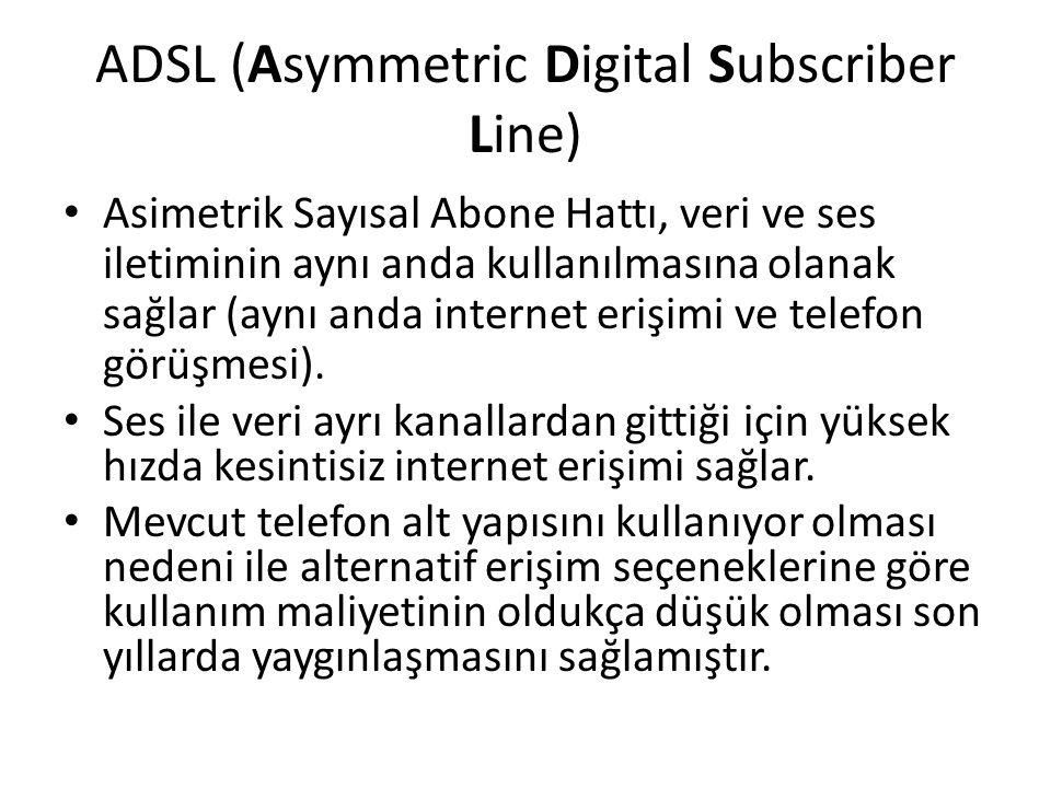 ADSL (Asymmetric Digital Subscriber Line) Asimetrik Sayısal Abone Hattı, veri ve ses iletiminin aynı anda kullanılmasına olanak sağlar (aynı anda inte