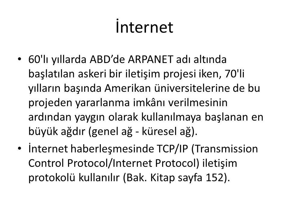 İnternet 60'lı yıllarda ABD'de ARPANET adı altında başlatılan askeri bir iletişim projesi iken, 70'li yılların başında Amerikan üniversitelerine de bu