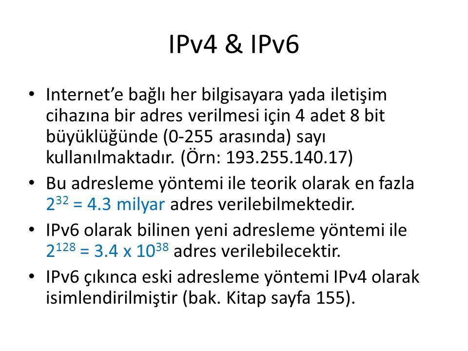 IPv4 & IPv6 Internet'e bağlı her bilgisayara yada iletişim cihazına bir adres verilmesi için 4 adet 8 bit büyüklüğünde (0-255 arasında) sayı kullanılmaktadır.