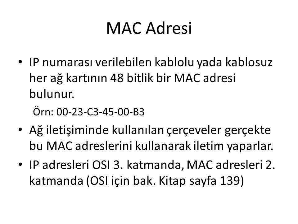 MAC Adresi IP numarası verilebilen kablolu yada kablosuz her ağ kartının 48 bitlik bir MAC adresi bulunur. Örn: 00-23-C3-45-00-B3 Ağ iletişiminde kull