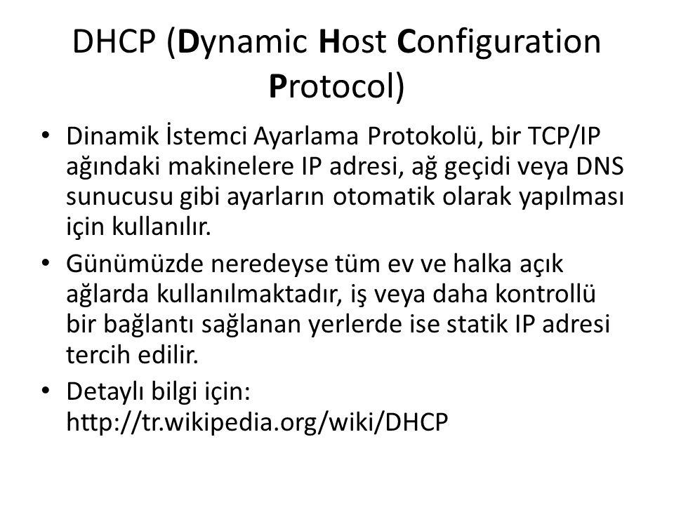 DHCP (Dynamic Host Configuration Protocol) Dinamik İstemci Ayarlama Protokolü, bir TCP/IP ağındaki makinelere IP adresi, ağ geçidi veya DNS sunucusu gibi ayarların otomatik olarak yapılması için kullanılır.