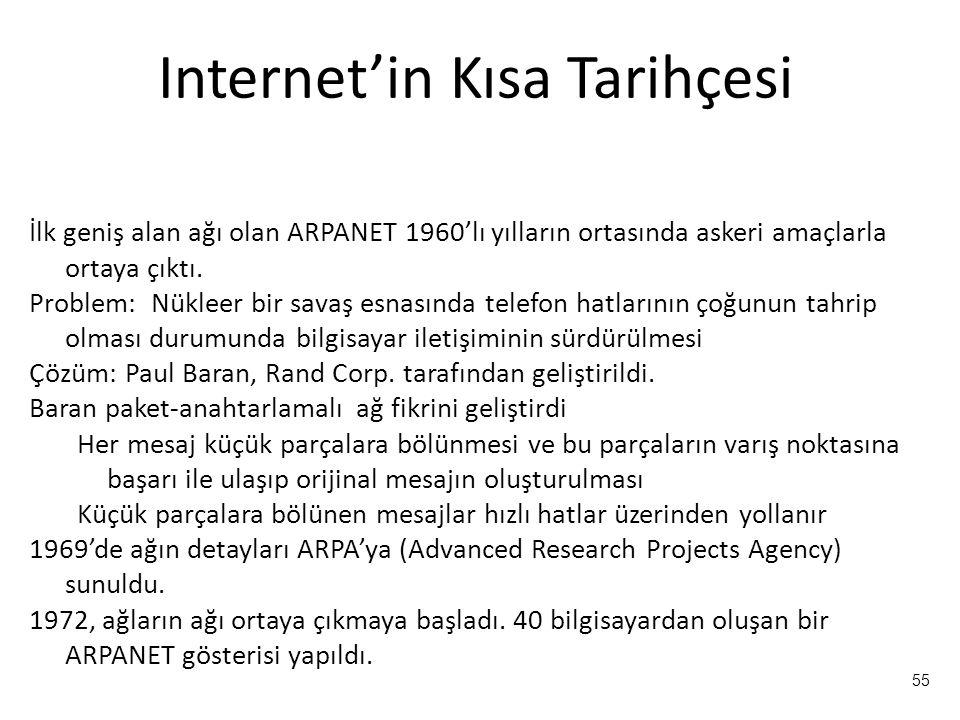 55 Internet'in Kısa Tarihçesi İlk geniş alan ağı olan ARPANET 1960'lı yılların ortasında askeri amaçlarla ortaya çıktı. Problem: Nükleer bir savaş esn