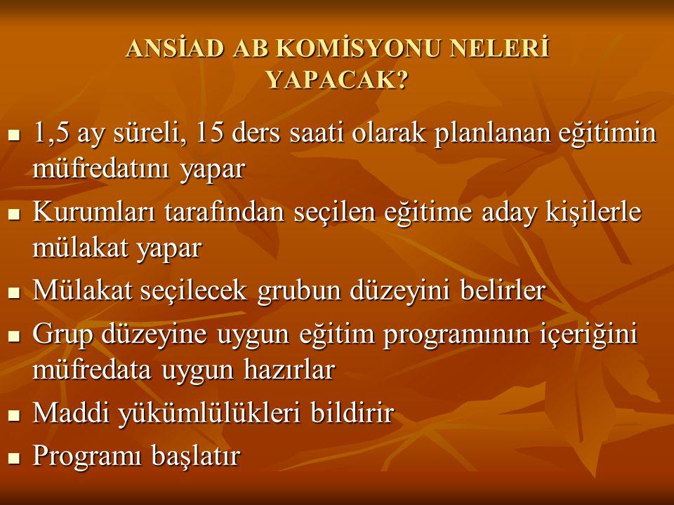 ANSİAD AB KOMİSYONU NELERİ YAPACAK.