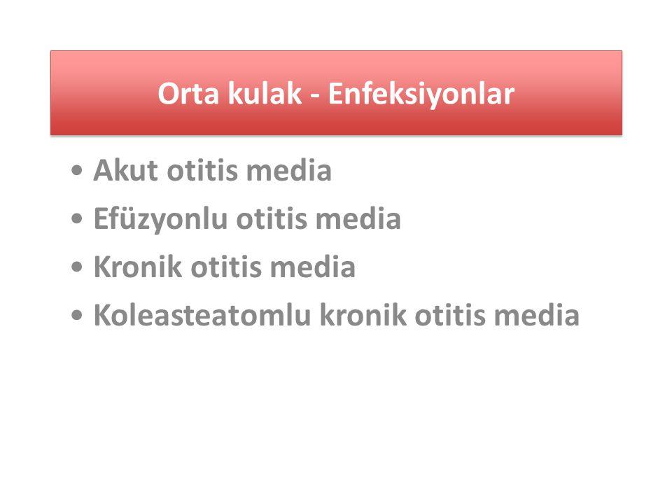 Orta kulak - Enfeksiyonlar Akut otitis media Efüzyonlu otitis media Kronik otitis media Koleasteatomlu kronik otitis media