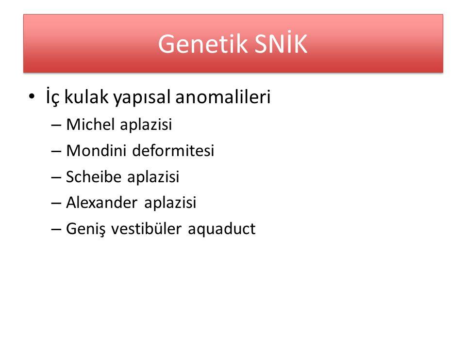 Genetik SNİK İç kulak yapısal anomalileri – Michel aplazisi – Mondini deformitesi – Scheibe aplazisi – Alexander aplazisi – Geniş vestibüler aquaduct