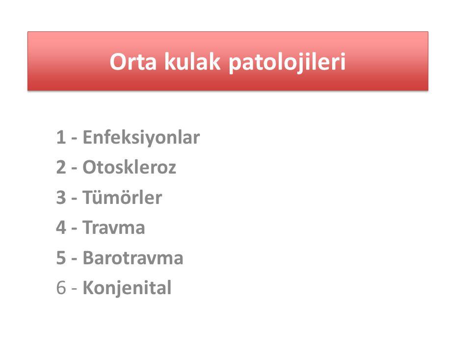 1 - Enfeksiyonlar 2 - Otoskleroz 3 - Tümörler 4 - Travma 5 - Barotravma 6 - Konjenital Orta kulak patolojileri