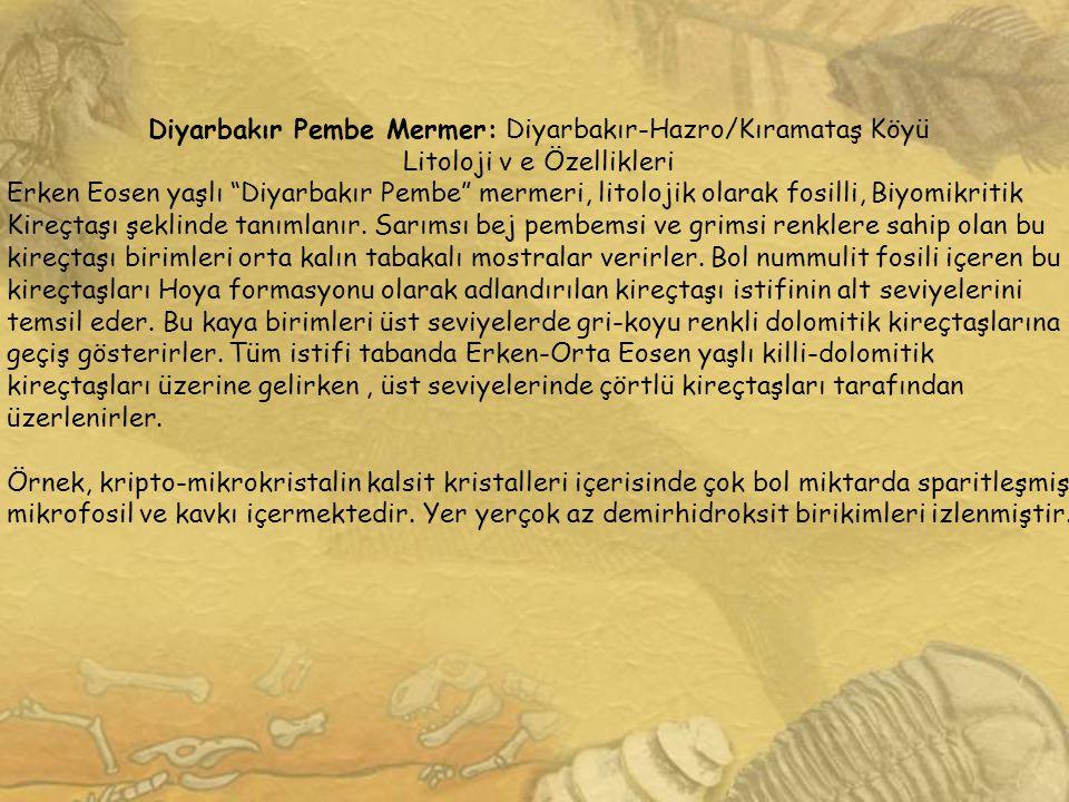 """Diyarbakır Pembe Mermer: Diyarbakır-Hazro/Kıramataş Köyü Litoloji v e Özellikleri Erken Eosen yaşlı """"Diyarbakır Pembe"""" mermeri, litolojik olarak fosil"""