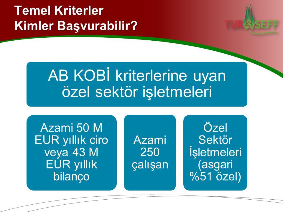 Temel Kriterler Kimler Başvurabilir? AB KOBİ kriterlerine uyan özel sektör işletmeleri Azami 50 M EUR yıllık ciro veya 43 M EUR yıllık bilanço Azami 2