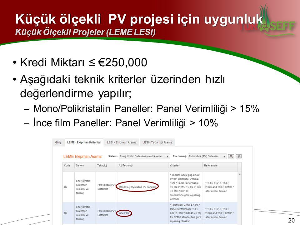Küçük ölçekli PV projesi için uygunluk 20 Küçük Ölçekli Projeler (LEME LESI) Kredi Miktarı ≤ €250,000 Aşağıdaki teknik kriterler üzerinden hızlı değer