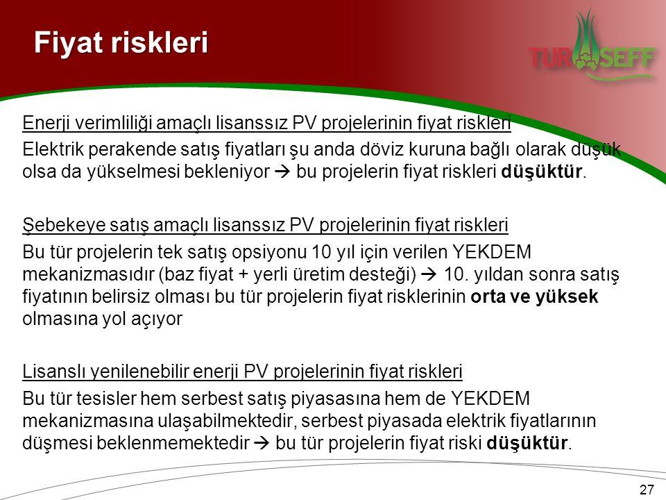Fiyat riskleri Enerji verimliliği amaçlı lisanssız PV projelerinin fiyat riskleri Elektrik perakende satış fiyatları şu anda döviz kuruna bağlı olarak düşük olsa da yükselmesi bekleniyor  bu projelerin fiyat riskleri düşüktür.