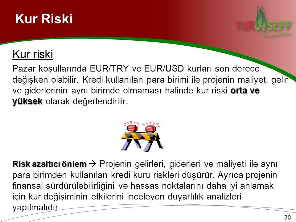 Kur Riski Kur riski orta ve yüksek Pazar koşullarında EUR/TRY ve EUR/USD kurları son derece değişken olabilir. Kredi kullanılan para birimi ile projen