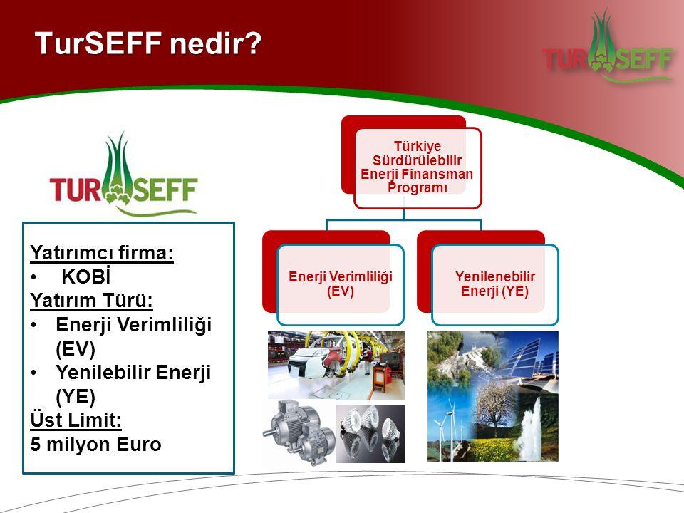 TurSEFF nedir? Yatırımcı firma: KOBİ Yatırım Türü: Enerji Verimliliği (EV) Yenilebilir Enerji (YE) Üst Limit: 5 milyon Euro Türkiye Sürdürülebilir Ene
