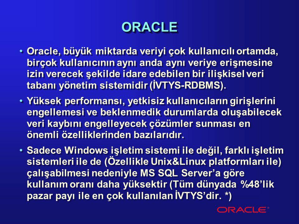 ORACLEORACLE Oracle, büyük miktarda veriyi çok kullanıcılı ortamda, birçok kullanıcının aynı anda aynı veriye erişmesine izin verecek şekilde idare ed