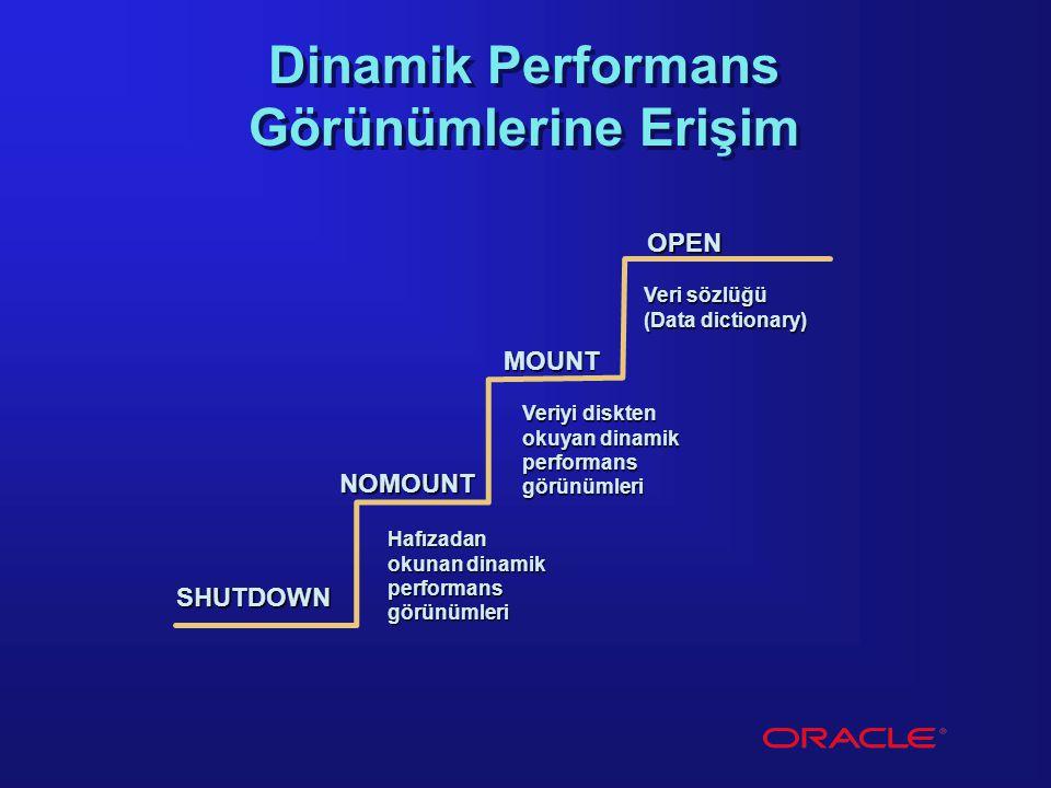 OPEN MOUNT NOMOUNT Veri sözlüğü (Data dictionary) Dinamik Performans Görünümlerine Erişim Veriyi diskten okuyan dinamik performansgörünümleri Hafızada