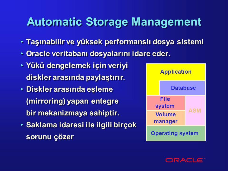 Automatic Storage Management Taşınabilir ve yüksek performanslı dosya sistemi Oracle veritabanı dosyalarını idare eder. Yükü dengelemek için veriyi di