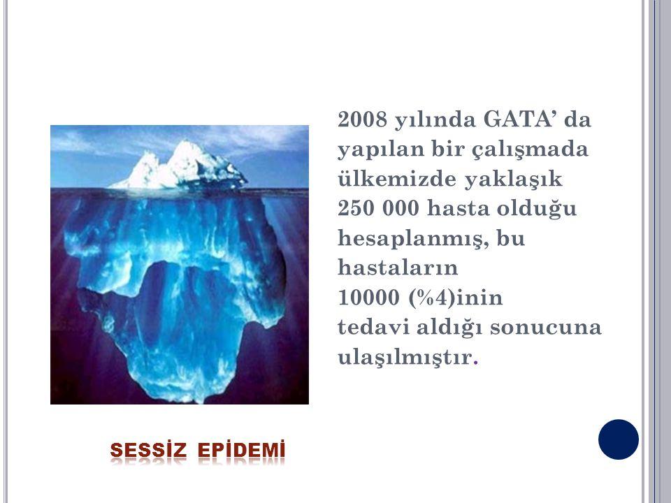 2008 yılında GATA' da yapılan bir çalışmada ülkemizde yaklaşık 250 000 hasta olduğu hesaplanmış, bu hastaların 10000 (%4)inin tedavi aldığı sonucuna u
