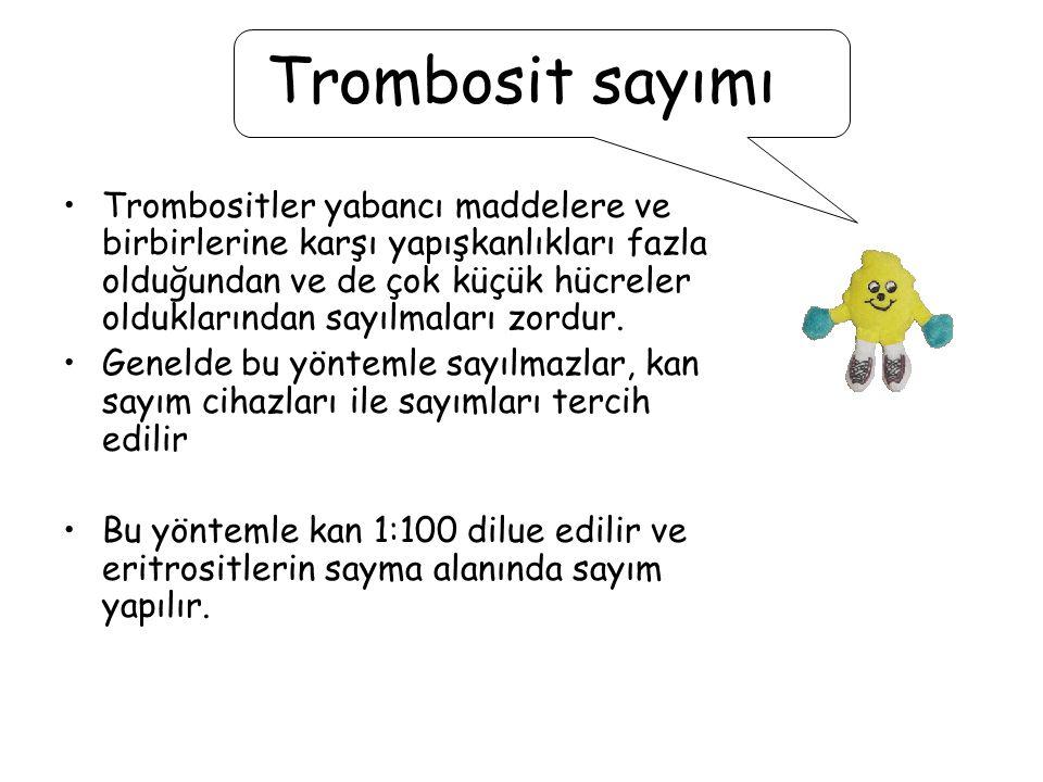 Trombosit sayımı Trombositler yabancı maddelere ve birbirlerine karşı yapışkanlıkları fazla olduğundan ve de çok küçük hücreler olduklarından sayılmal