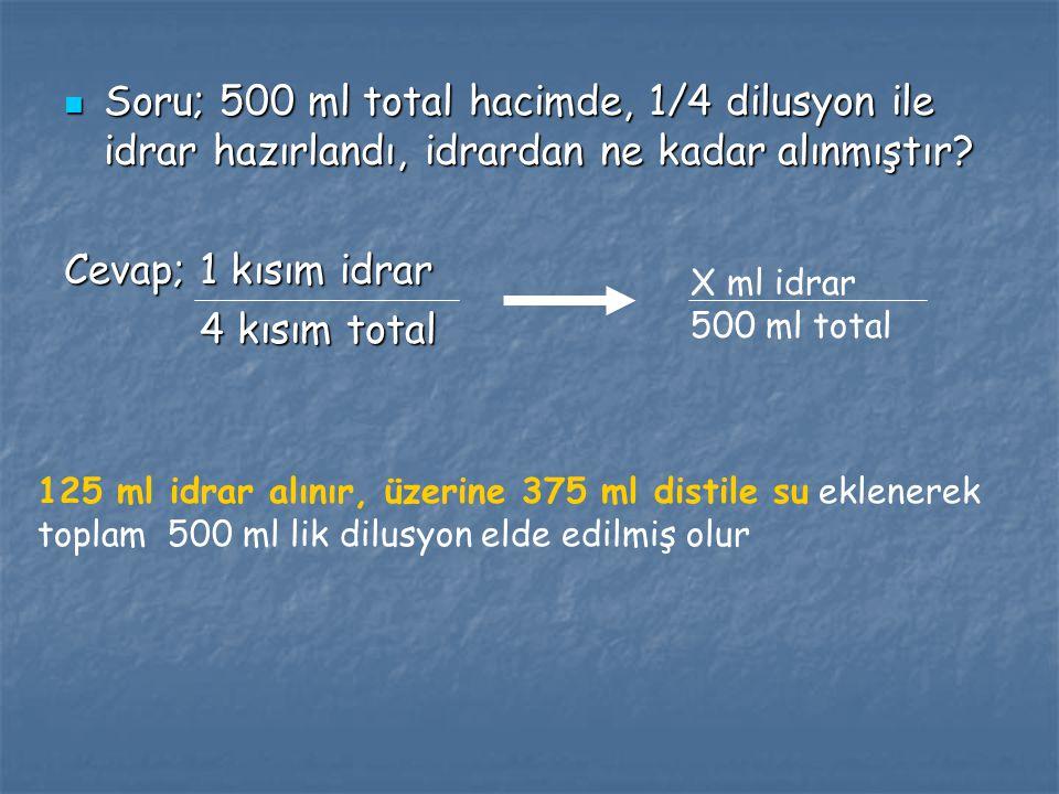 Soru; 500 ml total hacimde, 1/4 dilusyon ile idrar hazırlandı, idrardan ne kadar alınmıştır? Soru; 500 ml total hacimde, 1/4 dilusyon ile idrar hazırl