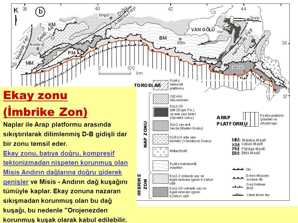 Ekay zonu (İmbrike Zon) Naplar ile Arap platformu arasında sıkıştırılarak dilimlenmiş D-B gidişli dar bir zonu temsil eder. Ekay zonu, batıya doğru, k