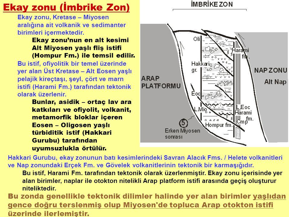 Ekay zonu (İmbrike Zon) Ekay zonu, Kretase – Miyosen aralığına ait volkanik ve sedimanter birimleri içermektedir. Ekay zonu'nun en alt kesimi Alt Miyo