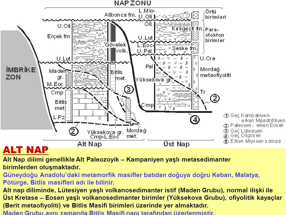 ALT NAP Alt Nap dilimi genellikle Alt Paleozoyik – Kampaniyen yaşlı metasedimanter birimlerden oluşmaktadır. Güneydoğu Anadolu'daki metamorfik masifle
