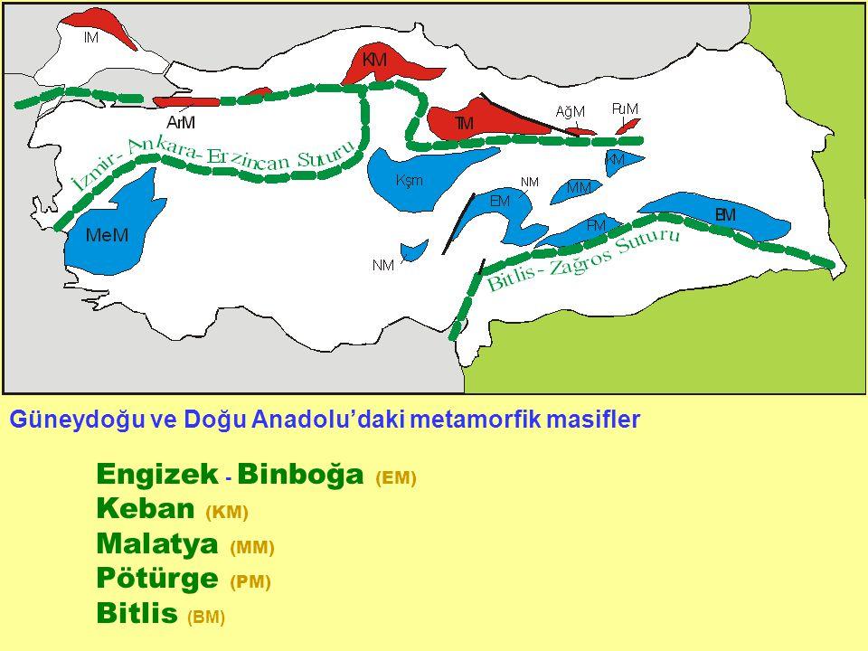 Güneydoğu ve Doğu Anadolu'daki metamorfik masifler Engizek - Binboğa (EM) Keban (KM) Malatya (MM) Pötürge (PM) Bitlis (BM)