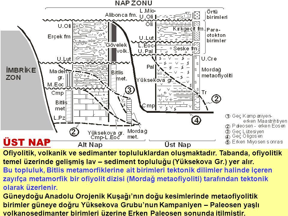 ÜST NAP Ofiyolitik, volkanik ve sedimanter topluluklardan oluşmaktadır. Tabanda, ofiyolitik temel üzerinde gelişmiş lav – sediment topluluğu (Yüksekov