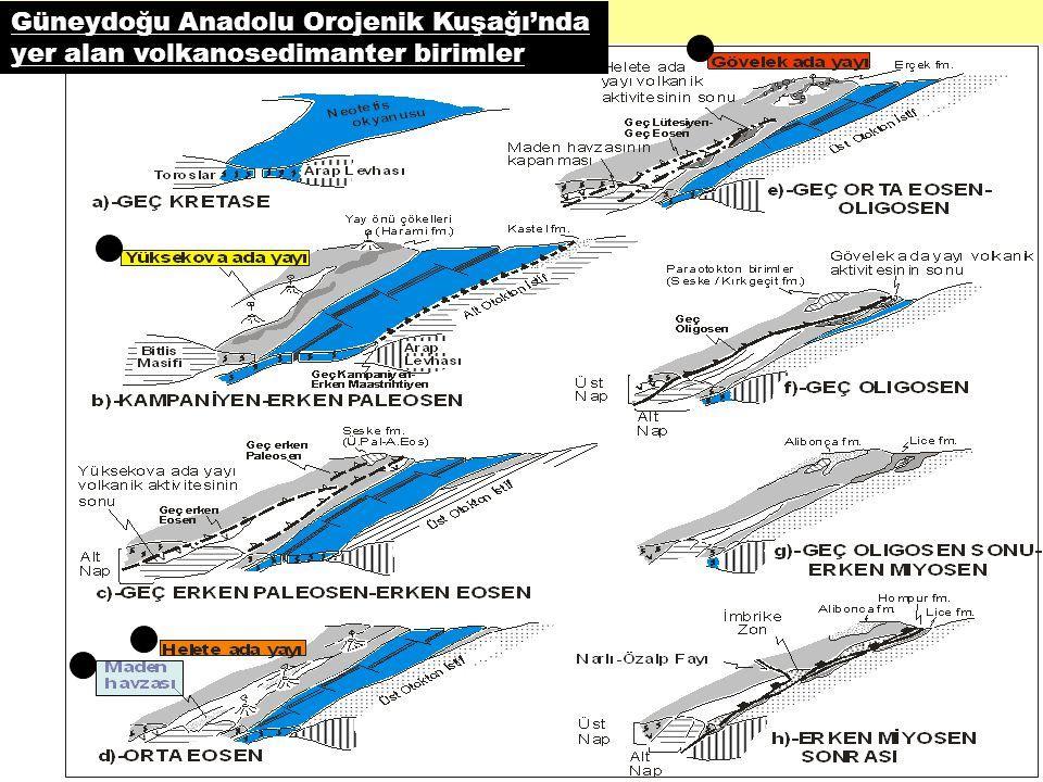 Güneydoğu Anadolu Orojenik Kuşağı'nda yer alan volkanosedimanter birimler