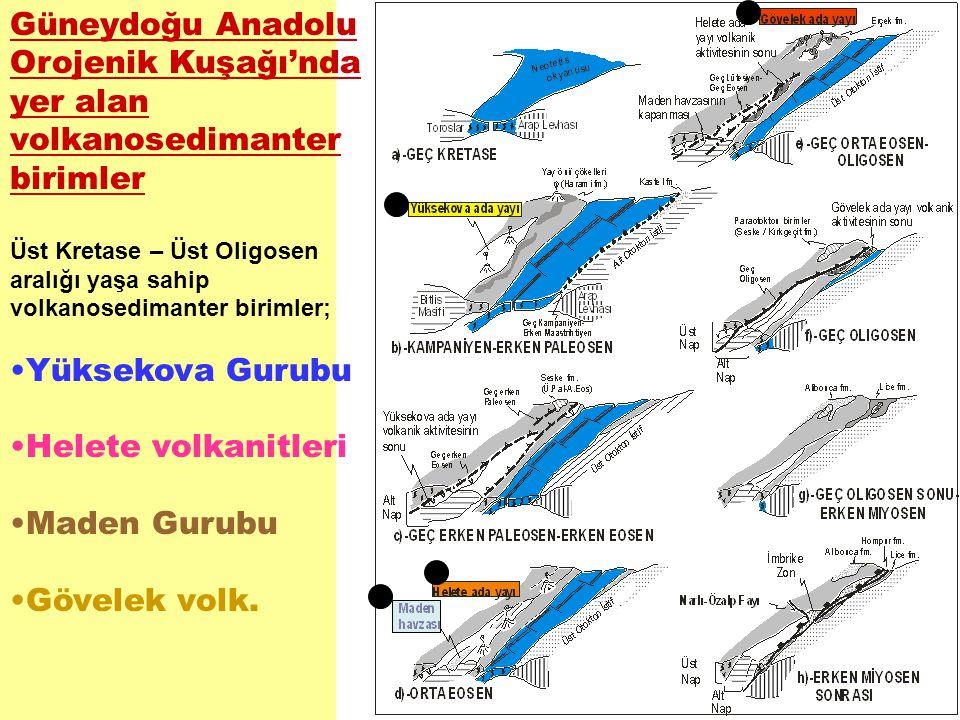 Güneydoğu Anadolu Orojenik Kuşağı'nda yer alan volkanosedimanter birimler Üst Kretase – Üst Oligosen aralığı yaşa sahip volkanosedimanter birimler; Yü
