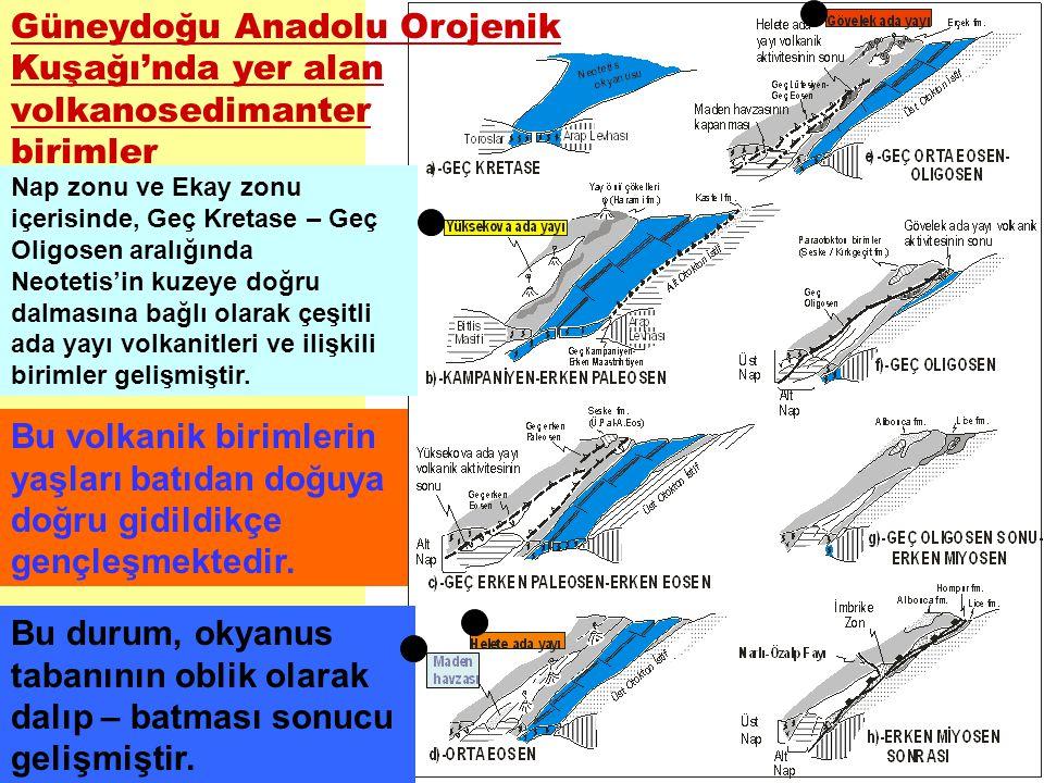 Güneydoğu Anadolu Orojenik Kuşağı'nda yer alan volkanosedimanter birimler Nap zonu ve Ekay zonu içerisinde, Geç Kretase – Geç Oligosen aralığında Neot