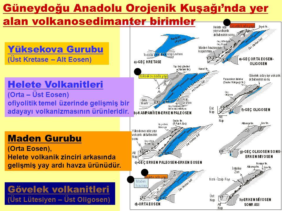Güneydoğu Anadolu Orojenik Kuşağı'nda yer alan volkanosedimanter birimler Yüksekova Gurubu (Üst Kretase – Alt Eosen) Helete Volkanitleri (Orta – Üst E