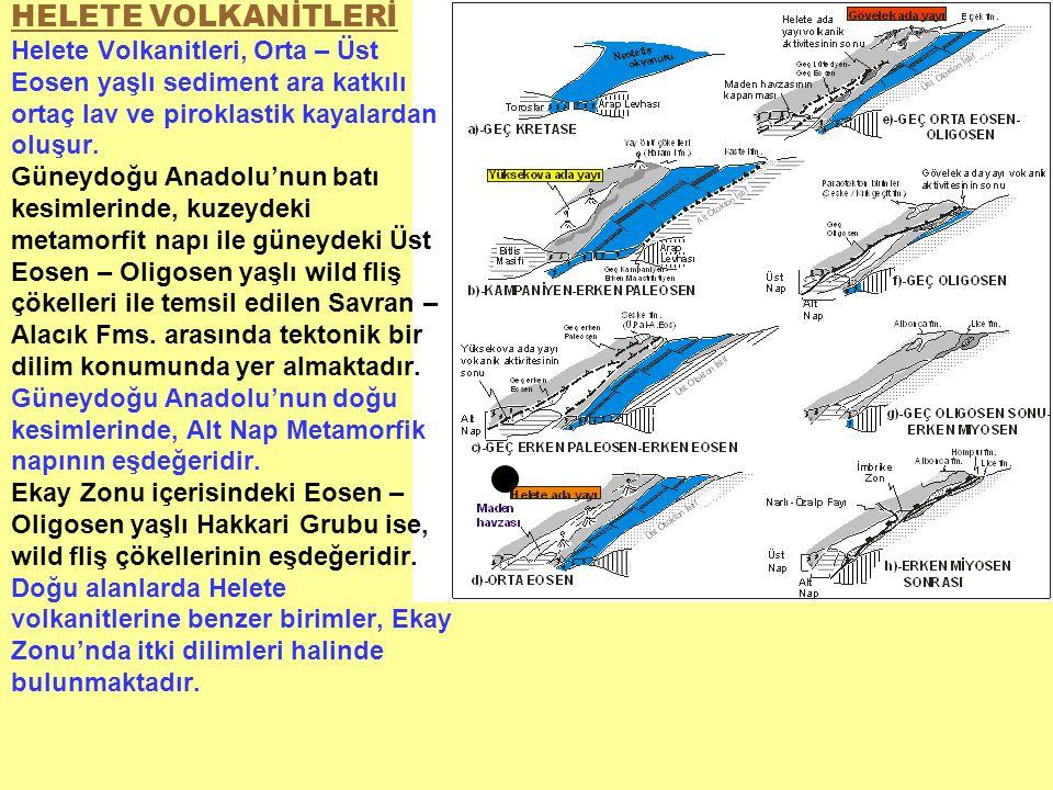 HELETE VOLKANİTLERİ Helete Volkanitleri, Orta – Üst Eosen yaşlı sediment ara katkılı ortaç lav ve piroklastik kayalardan oluşur. Güneydoğu Anadolu'nun