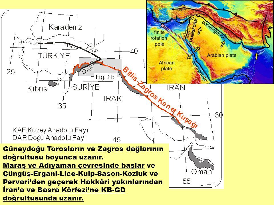 Güneydoğu Torosların ve Zagros dağlarının doğrultusu boyunca uzanır. Maraş ve Adıyaman çevresinde başlar ve Çüngüş-Ergani-Lice-Kulp-Sason-Kozluk ve Pe