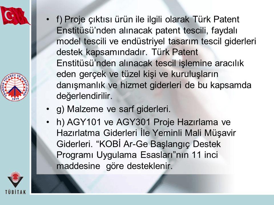 f) Proje çıktısı ürün ile ilgili olarak Türk Patent Enstitüsü'nden alınacak patent tescili, faydalı model tescili ve endüstriyel tasarım tescil giderl