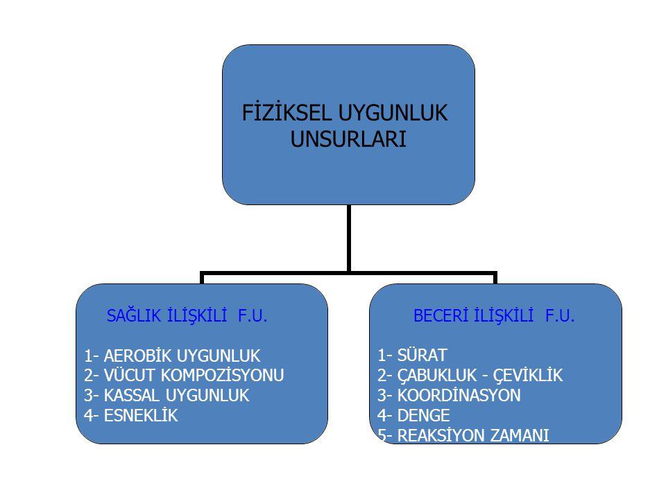 FİZİKSEL UYGUNLUK UNSURLARI SAĞLIK İLİŞKİLİ F.U. 1- AEROBİK UYGUNLUK 2- VÜCUT KOMPOZİSYONU 3- KASSAL UYGUNLUK 4- ESNEKLİK BECERİ İLİŞKİLİ F.U. 1- SÜRA