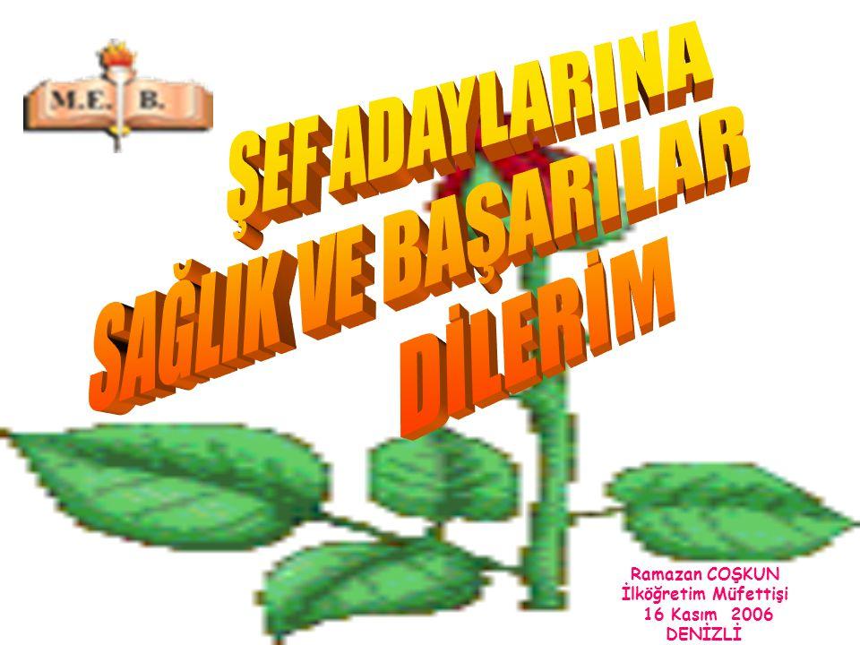 Ramazan COŞKUN İlköğretim Müfettişi 16 Kasım 2006 DENİZLİ