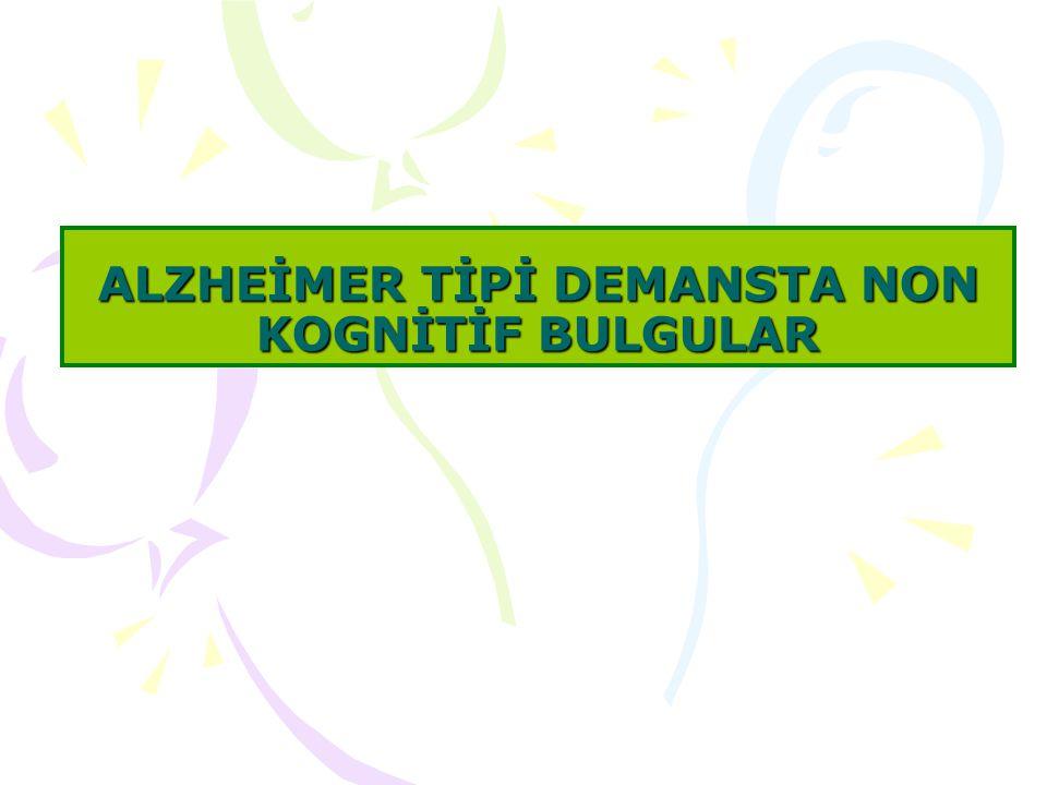 Bu konu başlığı altında ilk olarak bir huzurevinde yatmakta olan Alzheimer tanılı hastalardan olgu örnekleri sunulacak ve özellikle sıkıntı veren non-kognitif bulgularının değerlendirmesi ve tedavileri üzerinde durulacaktır.