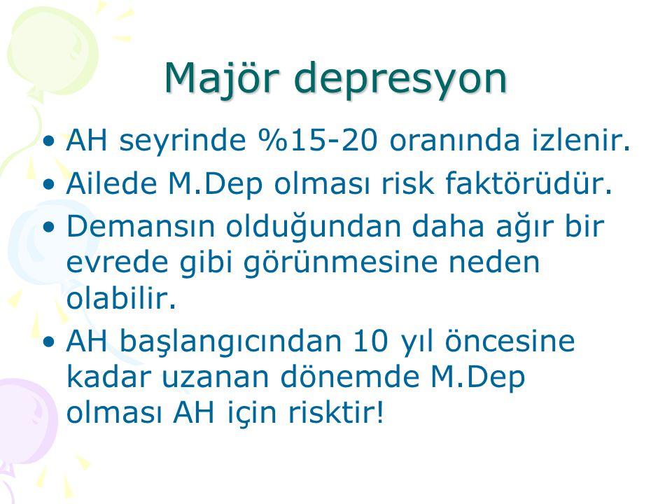 Majör depresyon AH seyrinde %15-20 oranında izlenir. Ailede M.Dep olması risk faktörüdür. Demansın olduğundan daha ağır bir evrede gibi görünmesine ne