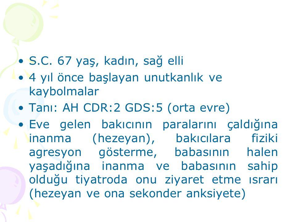 S.C. 67 yaş, kadın, sağ elli 4 yıl önce başlayan unutkanlık ve kaybolmalar Tanı: AH CDR:2 GDS:5 (orta evre) Eve gelen bakıcının paralarını çaldığına i
