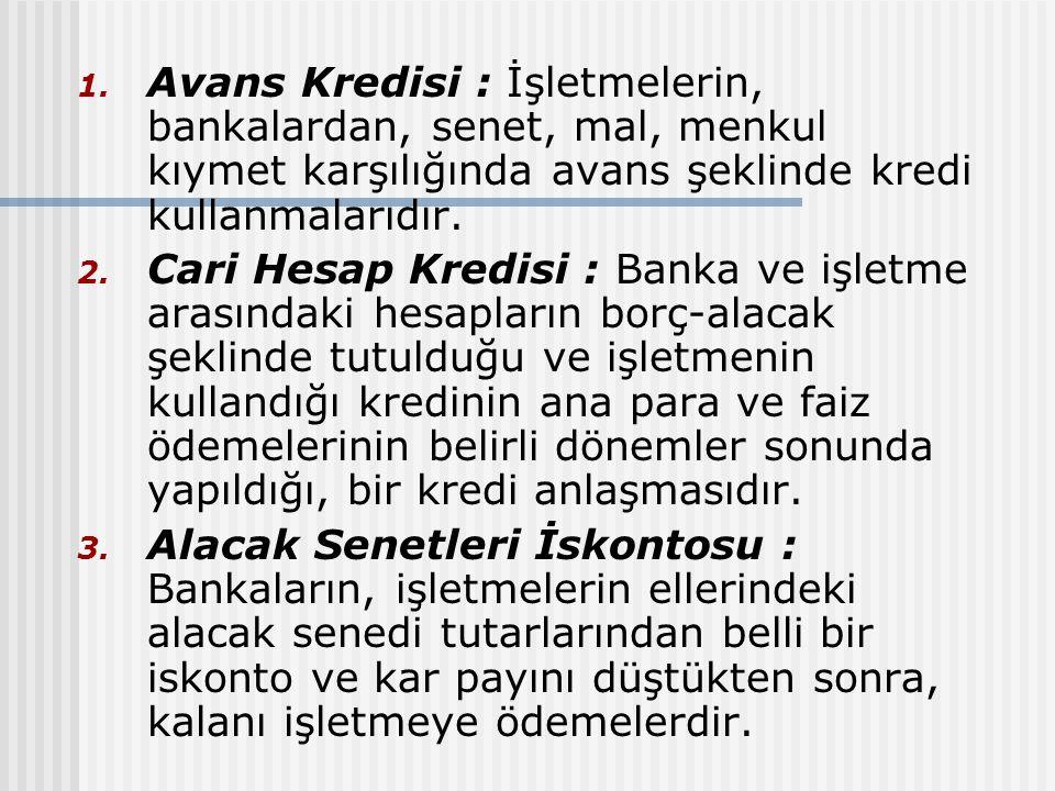 1. Avans Kredisi : İşletmelerin, bankalardan, senet, mal, menkul kıymet karşılığında avans şeklinde kredi kullanmalarıdır. 2. Cari Hesap Kredisi : Ban