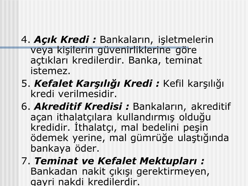 4. Açık Kredi : Bankaların, işletmelerin veya kişilerin güvenirliklerine göre açtıkları kredilerdir. Banka, teminat istemez. 5. Kefalet Karşılığı Kred