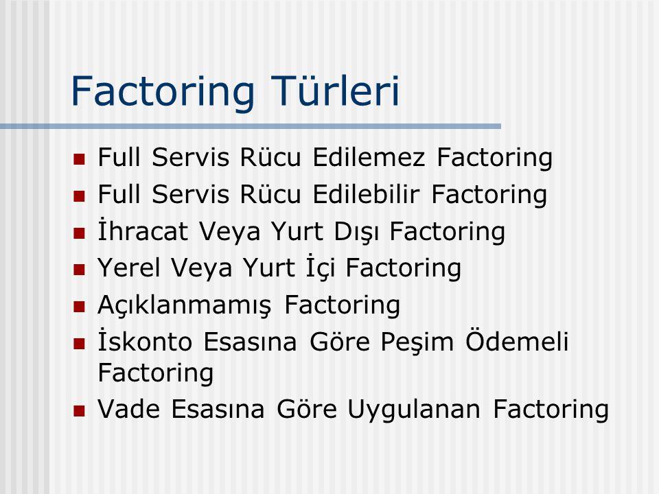 Factoring Türleri Full Servis Rücu Edilemez Factoring Full Servis Rücu Edilebilir Factoring İhracat Veya Yurt Dışı Factoring Yerel Veya Yurt İçi Factoring Açıklanmamış Factoring İskonto Esasına Göre Peşim Ödemeli Factoring Vade Esasına Göre Uygulanan Factoring
