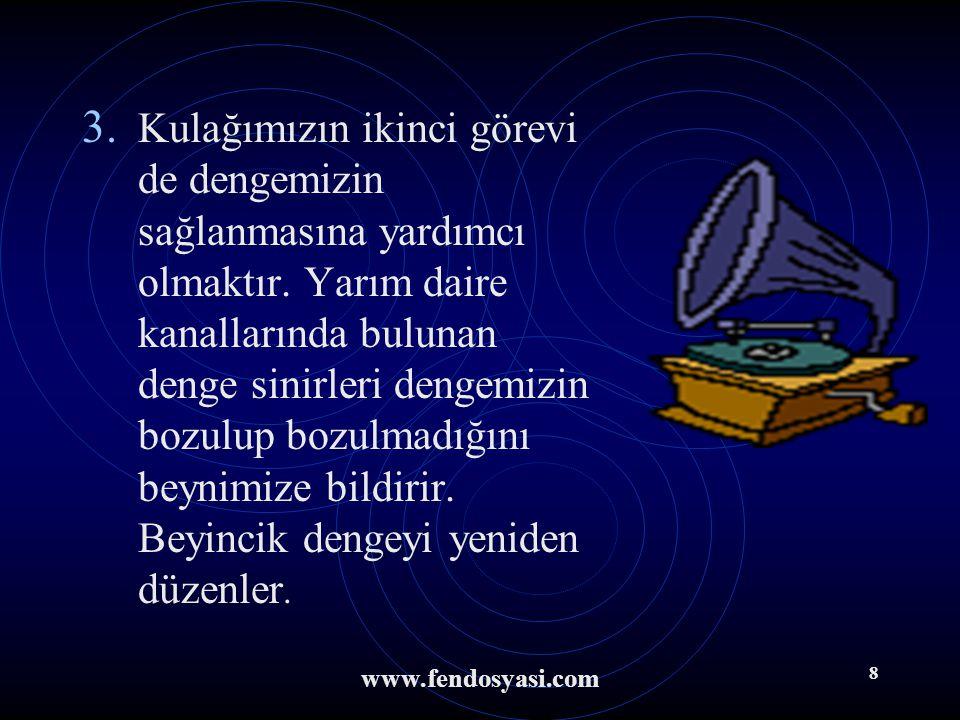 www.fendosyasi.com 7 Nasıl İşitiriz ? 1. Kulak kepçesi ses dalgalarını toplayarak kulak yoluyla kulak zarına iletir. 2. Kulak zarını titreşimlerini ke