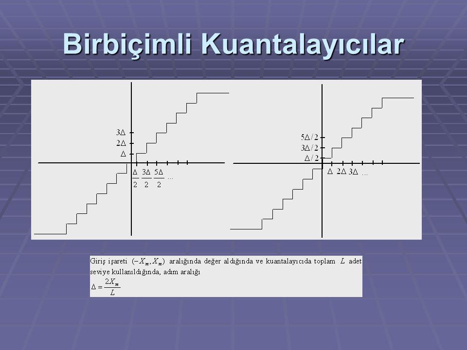 Örnek  (-1, +1) aralığında yer alan işaretin değerlerinin seviyeli birbiçimli bir kuantalayıcı ile nicemlenmesi istenmektedir.