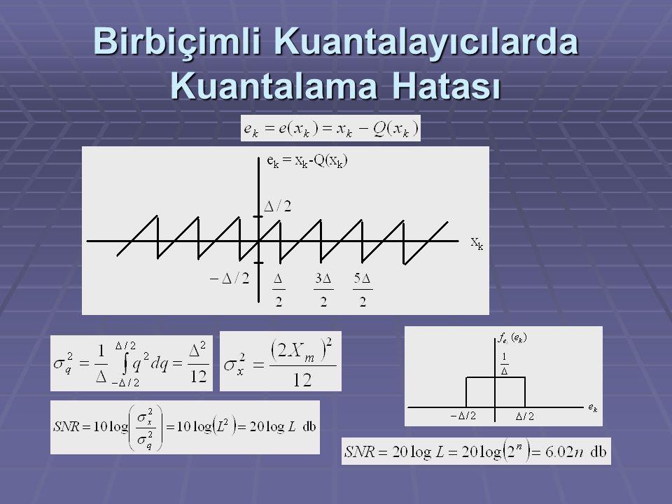 Örnek  Düzgün dağılımlı 10 kHz bant genişliğine sahip bir analog işaret, pratik bir sistem ile en az 40 dB'lik bir işaret-kuantalama gürültü oranı (SNR) sağlanacak şekilde birbiçimli bir kuantalayıcı kullanılarak sayısal şekle çevrilmektedir.